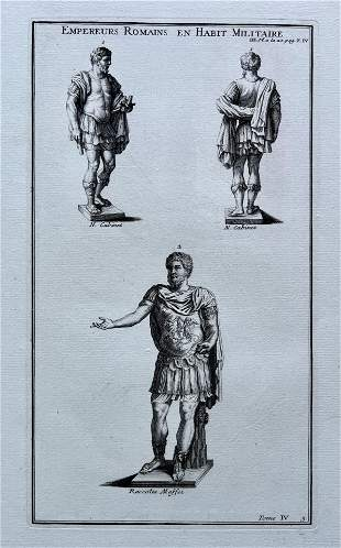 ANTIQUE ENGRAVING ROMAN EMPERORS IN MILITARY CUSTOMS