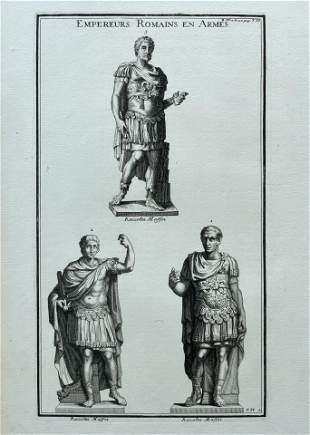 ANTIQUE ENGRAVING ROMAN EMPERORS IN ARMS