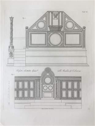 ANTIQUE ARCHITECTURAL PRINT PULPITO BASILICA ST LORENZO