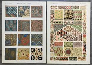 LOT OF 2 ANTIQUE CHROMOLITHOGRAPHS BYZANTINE DESIGN