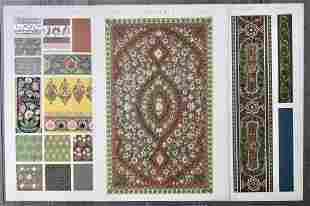 LOT OF 3 ANTIQUE CHROMOLITHOGRAPHS INDIAN DESIGN