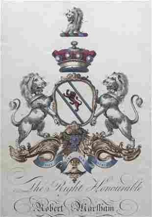 ENGLISH COATS OF ARMS ENGRAVING CIRCA 1765