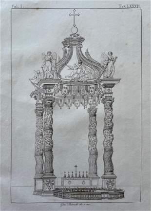 ANTIQUE ARCHITECTURAL ITALIAN ENGRAVING VATICAN
