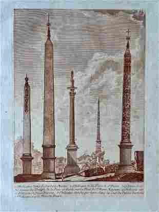 ANCIENT OBELISKS ANTIQUE SEPIA ETCHING CA 1780 BARBAULT