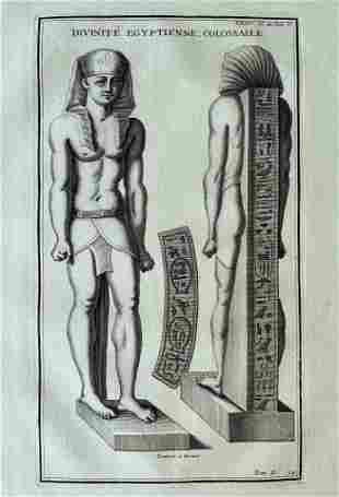 ANTIQUE ENGRAVING ANCIENT EGYPT DIVINITY