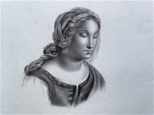 ANTIQUE FRENCH ORIGINAL GRAPHITE DRAWING 19th C