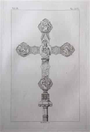 ANTIQUE ITALIAN RELIGIOUS ENGRAVING JESUS CRUCIFIX