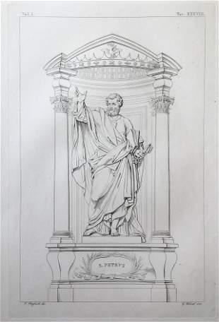 ANTIQUE ITALIAN RELIGIOUS ENGRAVING ST PETER