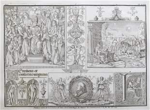 COPPER ENGRAVING ANCIENT LATIN MANUSCRIPT VATICAN XVe