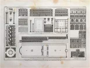 LARGE ARCHITECTURAL COPPER ENGRAVING BRAMANTE