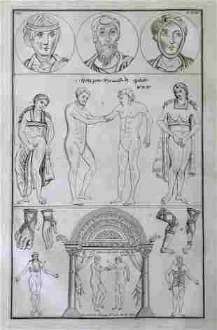 LARGE ANATOMICAL ENGRAVING GREEK MANUSCRIPT Siecle XIe