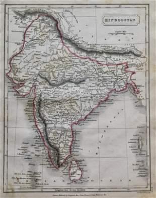 Hindoostan Antique Map 1826