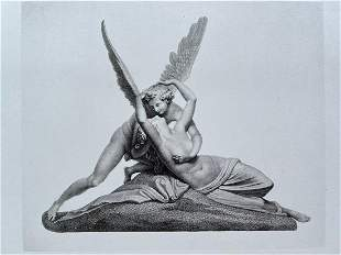 CUPID AND PSYCHE ANTIQUE ENGRAVING AFTER ANTONIO CANOVA