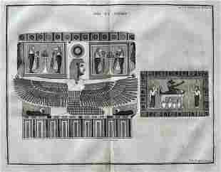 ANTIQUE EGYPTIAN ENGRAVING ISIS AND OSIRIS