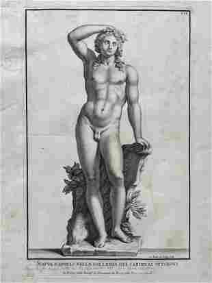 18th C ITALIAN ETCHING STATUE OF APOLLO