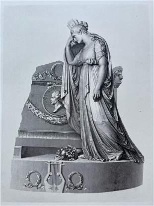 ENGRAVING ANTONIO CANOVA MONUMENT VITTORIO ALFIERI