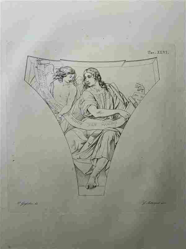 ANTIQUE ITALIAN ENGRAVING ART OF THE VATICAN