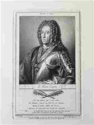 ANTOINE DE MARCENAY ETCHING 18th C. PRINCE EUGENE