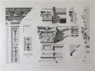 ANTIQUE FRENCH ARCHITECTURAL ENGRAVING STYLE FRANCOIS I
