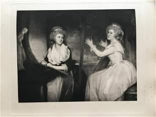 ETCHING GEORGE ROMNEY LADY CAROLINE & ELIZABETH SPENCER