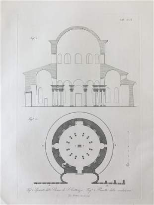 ANTIQUE ARCHITECTURAL PRINT CHIESA DI ST COSTANZA