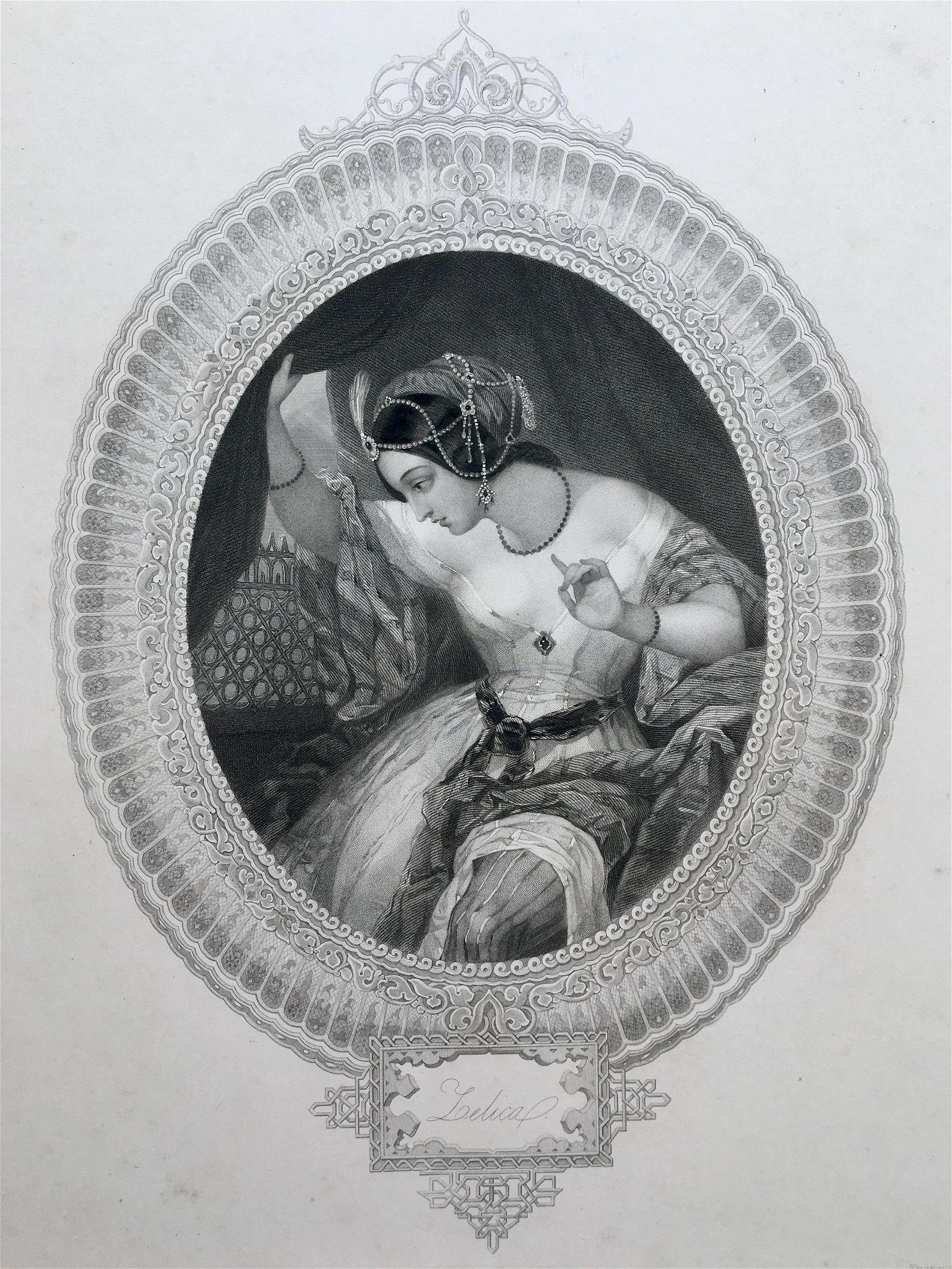 ANTIQUE ROMANTIC ENGRAVING VICTORIAN WOMAN