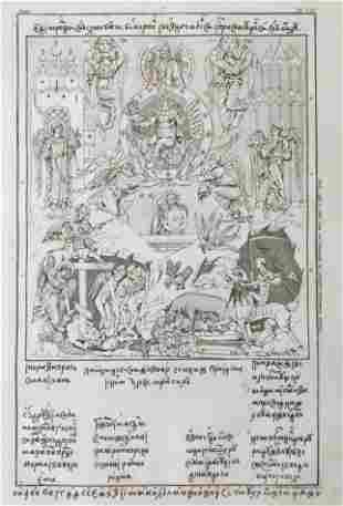 RARE RELIGIOUS ENGRAVING MEDIEVAL PAINTING HEAVEN HELL