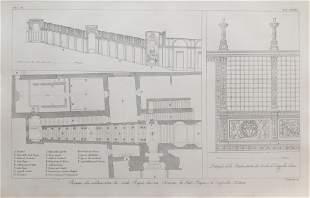 ANTIQUE ARCHITECTURAL ENGRAVING SISTINE CHAPEL VATICAN