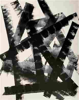 BLACK AND WHITE LARGE ORIGINAL PAINTING KLINE STYLE