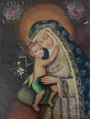 RELIGIOUS PAINTING VIRGIN AND CHILD