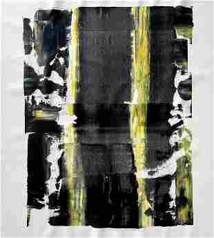 MODERN ACRYLIC ON CANVAS PAINTING YELLOW BLACK WHITE