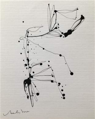 ABSTRACT MINIMALIST INK ON PAPER DRAWING