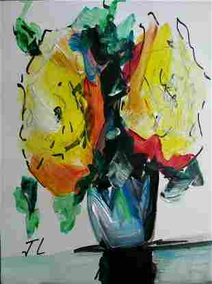 ABSTRACT MIXED MEDIA ON PAPER PAINTING FLOWERS