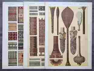 LOT OF 3 ANTIQUE CHROMOLITHOGRAPHS TRIBAL DESIGN
