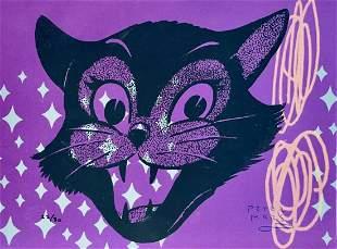 PETER MARS SIGNED ORIGINAL SILKSCREEN CAT POP ART