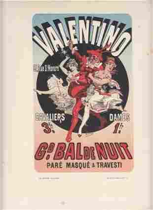 FRENCH ART NOUVEAU POSTER CA 1886 VALENTINO