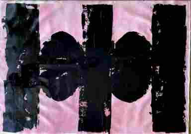 ABSTRACT PINK BLACK ACRYLIC ON CANVAS PAINTING 60X42 IN