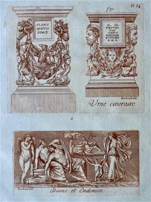 DIANE & ENDYMION ANTIQUE SEPIA ETCHING C 1780 BARBAULT