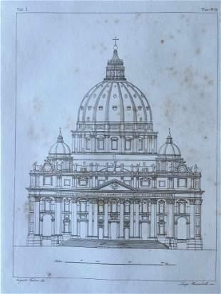 ANTIQUE ITALIAN ARCHITECTURAL PRINT OF THE VATICAN