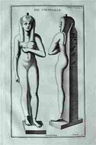 ANTIQUE ENGRAVING ANCIENT EGYPT GODDESS ISIS