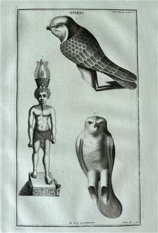 ANTIQUE ENGRAVING ANCIENT EGYPT GODDESS OSIRIS