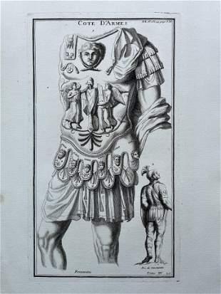 ANTIQUE ENGRAVING ETCHING GREEK ROMAN SOLDIER ARMOR