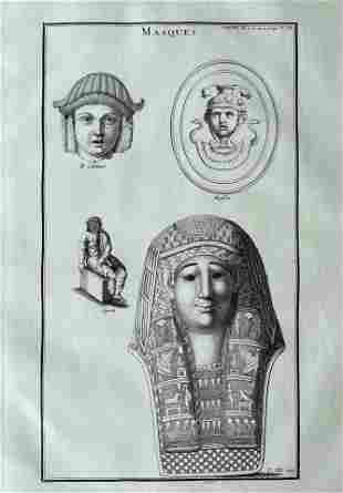 ANTIQUE ENGRAVING ANCIENT MASKS