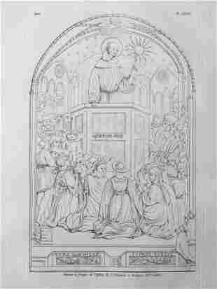 ANTIQUE ENGRAVING BASILICA OF ST FRANCIS BOLOGNA