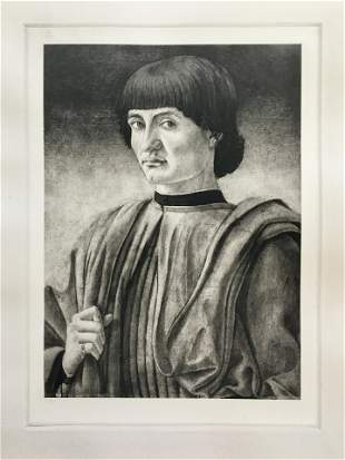 ETCHING AFTER ANDREA DEL CASTAGNO PORTRAIT OF YOUNG MAN