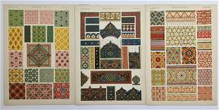 LOT OF 3 ANTIQUE CHROMOLITHOGRAPHS PERSIAN DESIGN