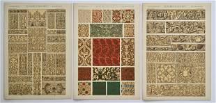 LOT OF 3 ANTIQUE CHROMOLITHOGRAPHS ELIZABETHAN DESIGN