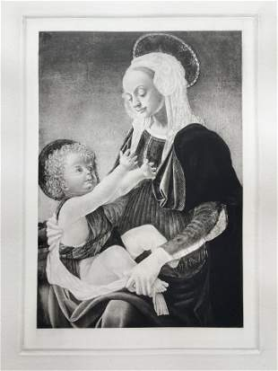 ETCHING AFTER ANDREA DEL VERROCCHIO MADONNA AND CHILD