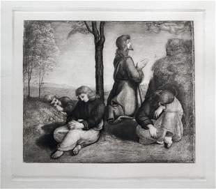 ETCHING AFTER OLD MASTER RAPHAEL AGONY IN THE GARDEN