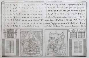 ENGRAVING ANCIENT RELIGIOUS MANUSCRIPT GREEK AND LATIN